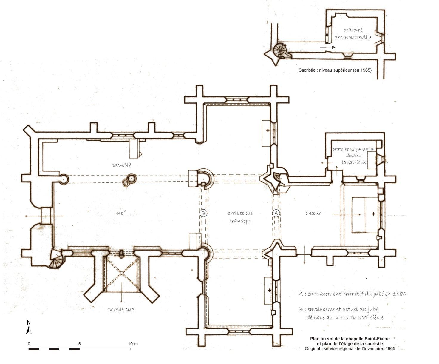 Plan de la chapelle Saint-Fiacre - Original : service régional de l'Inventaire, 1965
