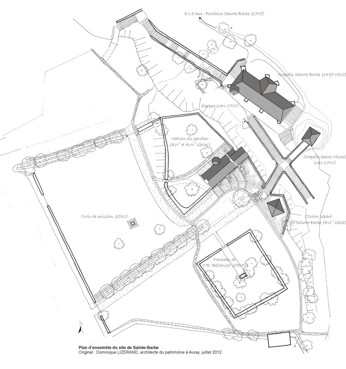 Plan d'ensemble du site de Sainte-Barbe - Original : Dominique LIZERAND, architecte du patrimoine à Auray, juillet 2012