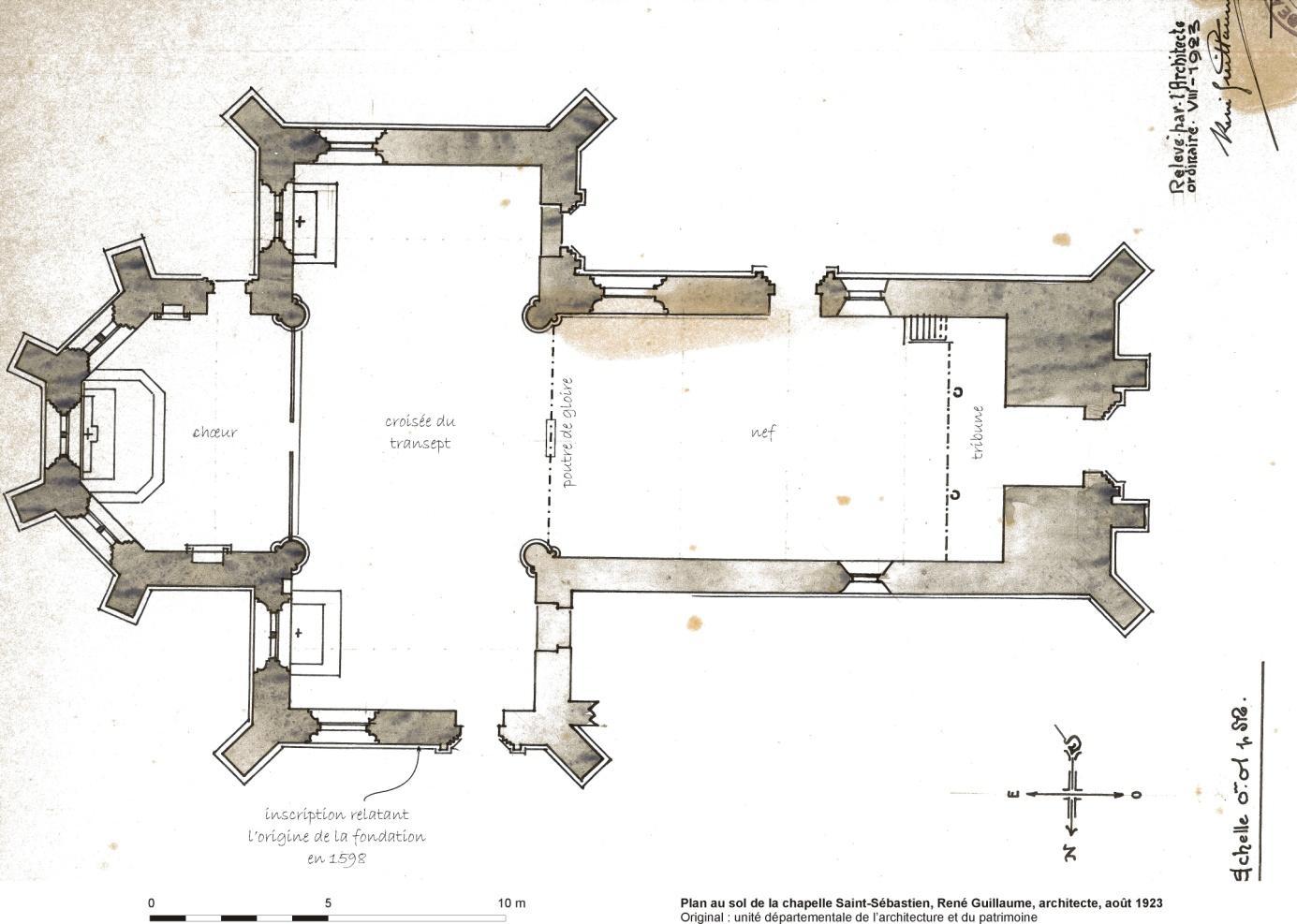 La chapelle Saint-Sébastien - Plan au sol, René Guillaume, architecte, août 1923 - Original : unité départementale de l'architecture et du patrimoine