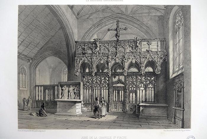 Jubé de la chapelle Saint-Fiacre près du Faouët (Morbihan) - Lithographie de FICHOT, d'après un dessin de Félix BENOIST, publiée dans La Bretagne contemporaine, Nantes, 1865, t.II
