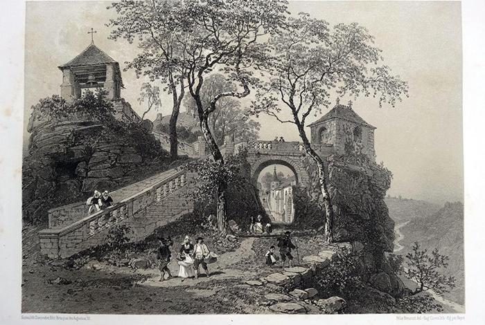 Chapelle Sainte-Barbe près du Faouët (Morbihan) - Lithographie d'Eugène CICÉRI d'après un dessin de Félix BENOIST, publiée dans La Bretagne contemporaine, Nantes, 1865, t.II