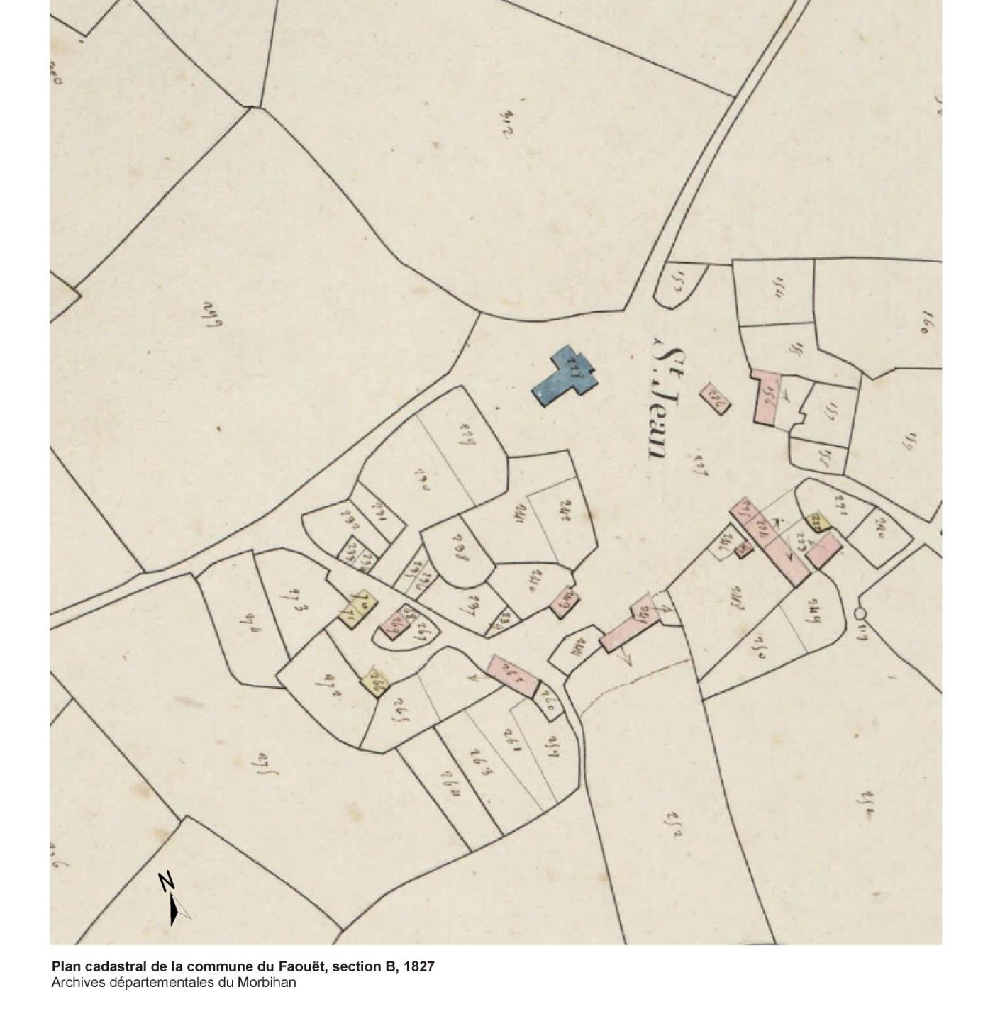 Plan cadastral de la commune du Faouët, section B, 1827 - Archives départementales du Morbihan, 3P 148/4