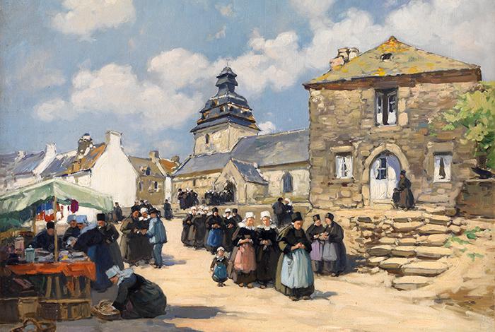 Sortie de messe au Faouët, vers 1928 - Henri BARNOIN (1882-1940) - Huile sur toile ; 54 x 65 cm - Legs de Mme Anne-Marie Le Fourn-Auffret, 2014