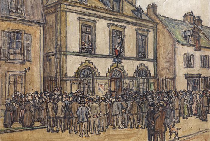 Mairie du Faouët, le 15 août 1914 - Germain DAVID-NILLET (1861-1932) - Huile sur toile ; 46,5 x 55,2 cm
