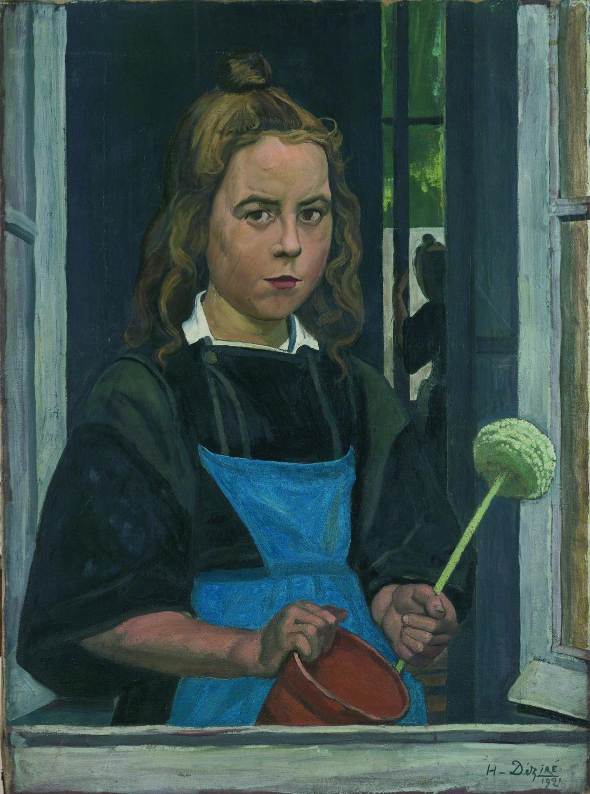 Henry DÉZIRÉ (1878-1965) Fillette à la fenêtre, 1921 Huile sur toile ; 81 x 60 cm Don de Mme Anne Raynaud-Reversat Collection musée du Faouët, n° d'inv. 2015.4.1.5.1 © Musée du Faouët, 2017 - Photo P.-Y Le Meur