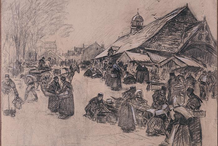 Marché du Faouët - Fernand LE GOUT-GERARD (1854-1924) - Fusain et craie sur papier (marouflé sur toile) ; 60 x 85,8 cm - Achat avec le soutien financier du Conseil départemental du Morbihan et le mécénat du Crédit mutuel de Bretagne