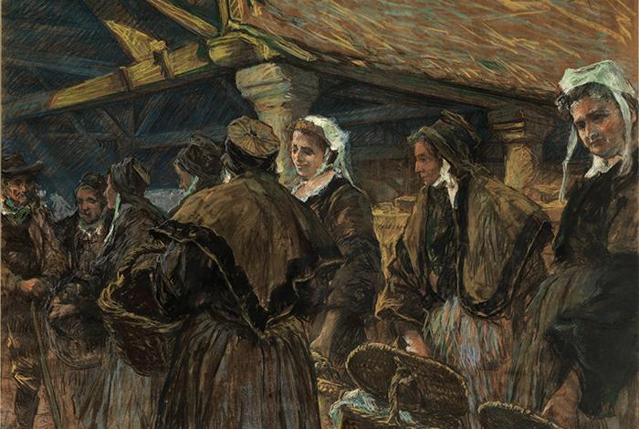 Femmes au marché du Faouët, vers 1936 - Arthur MIDY (1877-1944) - Pastel ; 88 x 114 cm