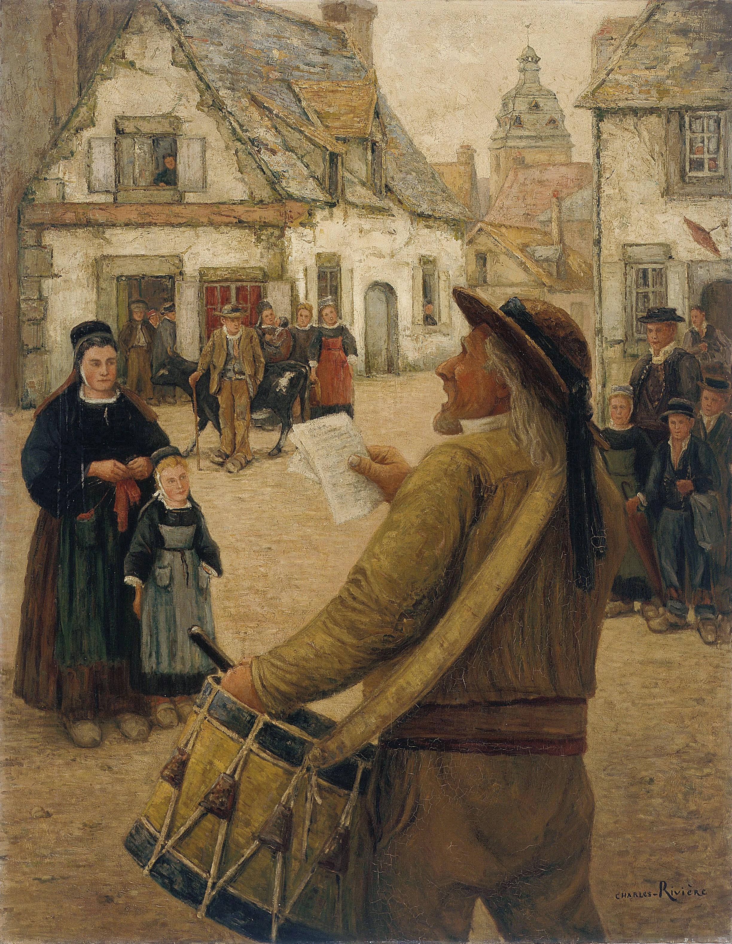 Le Tambour de ville, Bretagne - Le Faouët, vers 1914 - Charles RIVIERE (1848-1920) - Huile sur toile ; 146,7 x 115 cm