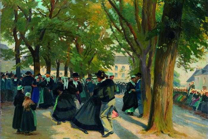 La Danse au Faouët (Morbihan), vers 1913 - Emile SCHMIDT-WEHRLIN (1850-?) - Huile sur toile ; 50 x 60 cm - Achat avec le soutien financier du Fonds régional d'acquisition pour les musées et le mécénat du Crédit mutuel de Bretagne