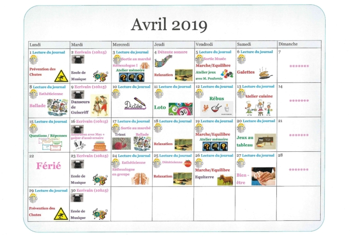 Activités avril
