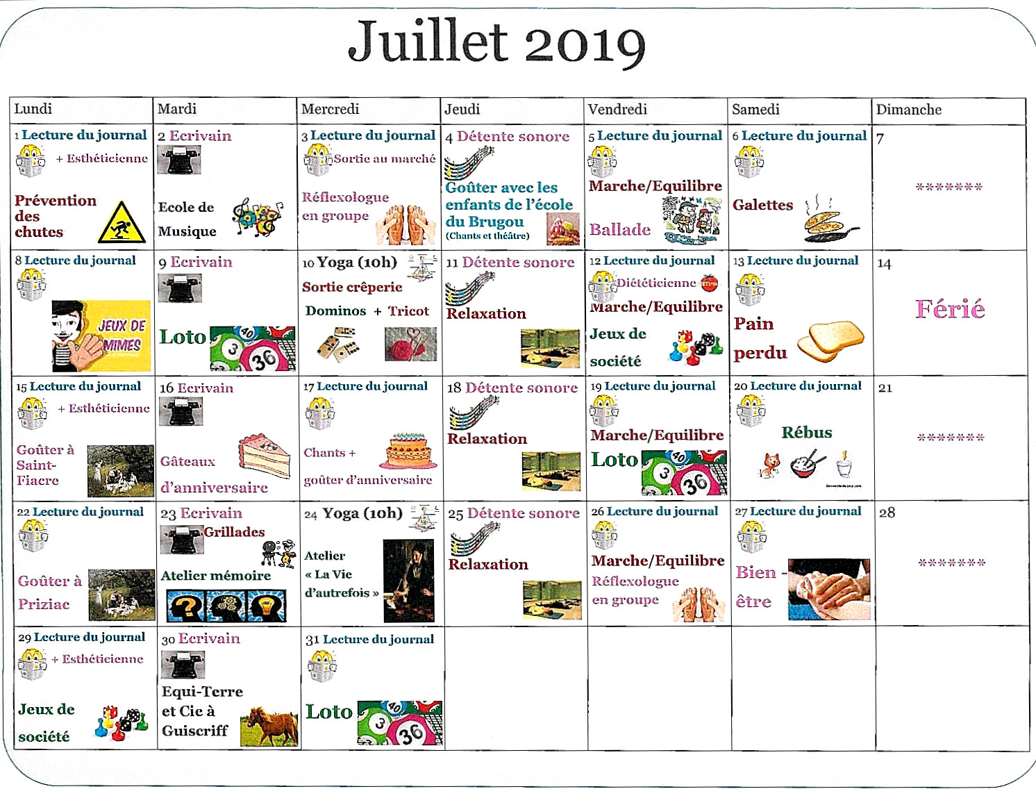 Activités juillet