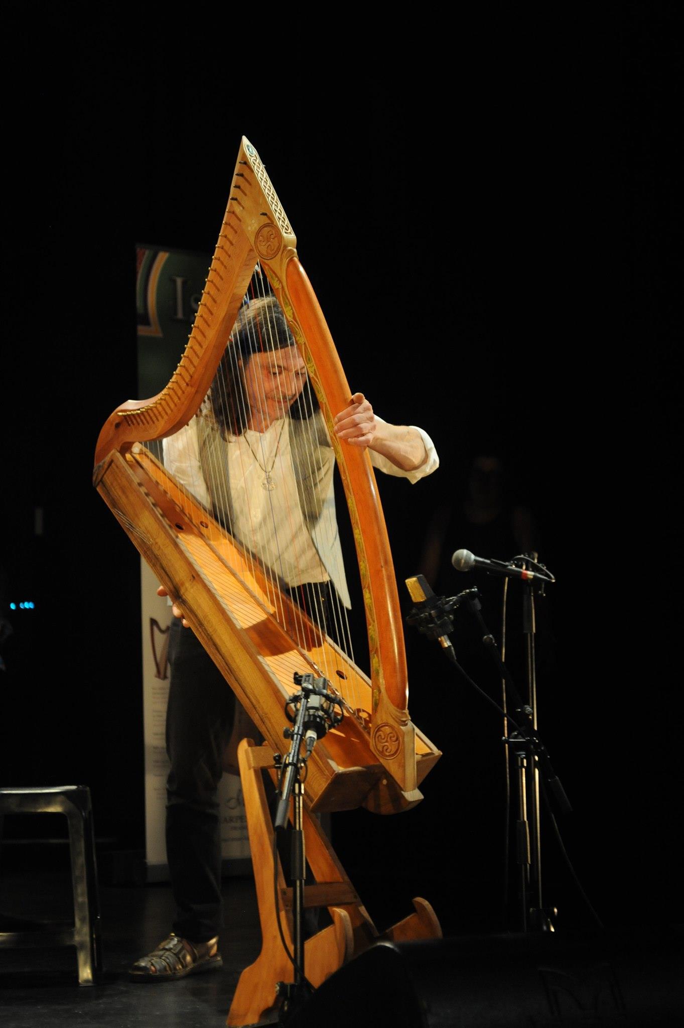 Christophe GUILLEMOT en concert avec la harpe celtique qu'il a fabriqué